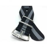 Curea material textil dublat piele Kvarnsjo 22mm gri inchis